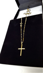 Corrente Masculina Ouro 18k Masculino C Pingente Crucifixo
