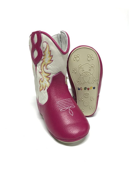 Bota Botinha Texana Infantil Para Bebê Rosa Com Cano Branco Bordado 100% Couro - Super Confortável Com Acabamento Único!