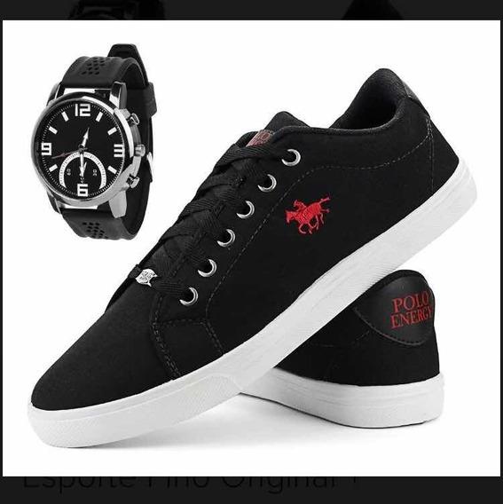 Sapato Sapatênis + Relógio Esportivo Preto Original
