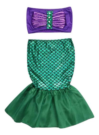 Disfraz Halloween Ariel Sirenita Niña Dos Piezas 3-4 Años