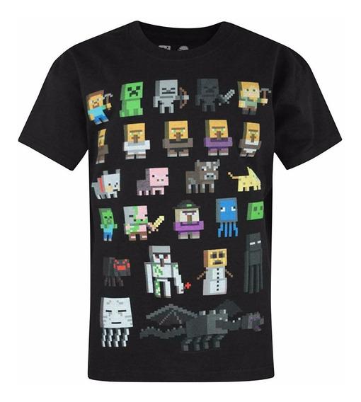 Camiseta P/ Niños Minecraft Manga Corta