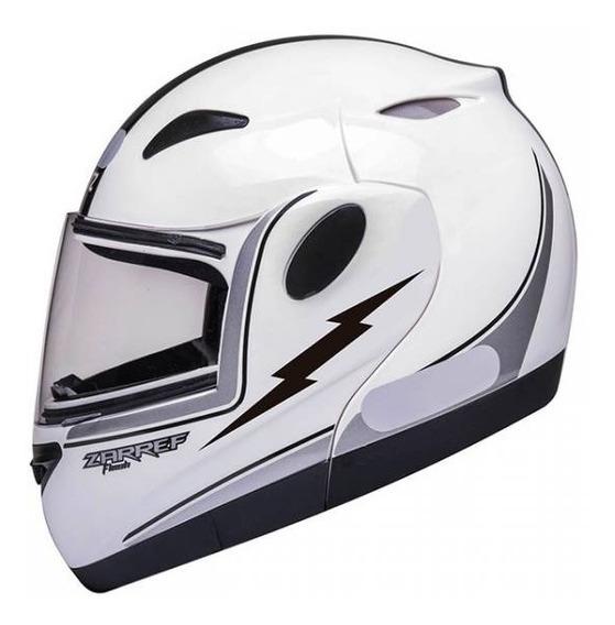 Capacete De Moto Robocop Zarref Bullitz Branco / Prata