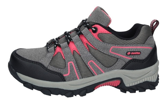 Zapatillas Outdoor Lotto Niños Caims Gris-rosa-1420