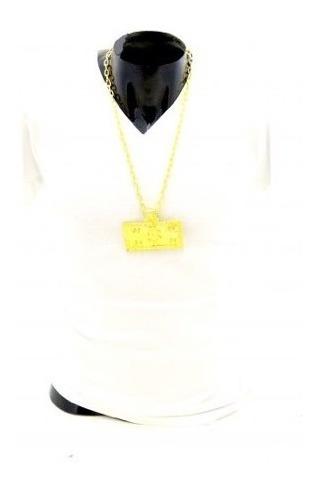 Collar Placa 100 Dolares Color Oro Envio Gratis