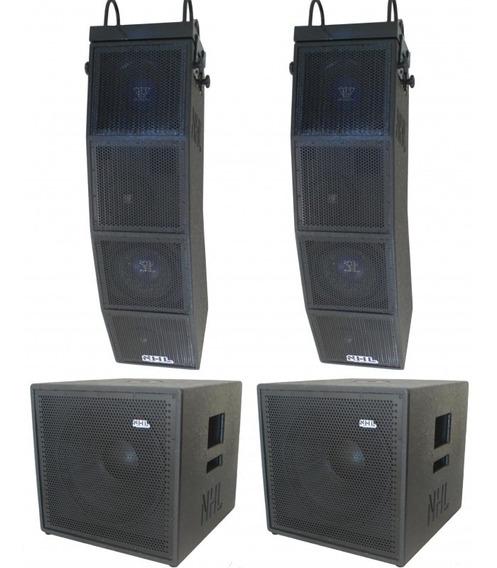 Kit Line Array + Subwoofer 15 Ativo Stereo 3800w Compacto Profissional Dois Lados Ativos Bi-amplificados Com Crossover