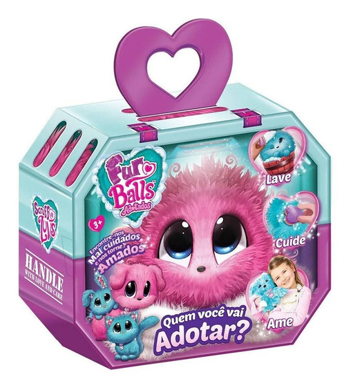 Brinquedo Fur Balls Pets Adotados Surpresa Rosa - Fun