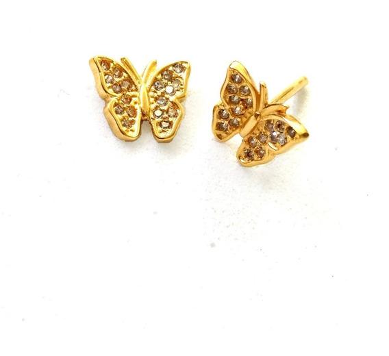 Brinco De Ouro 18k Borboleta + Diamantes Naturais Vivarj U16