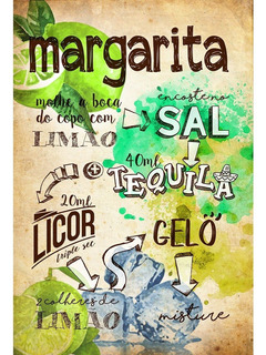Placa - Quadro - Decorativo - Receita - Margarita - (v340)
