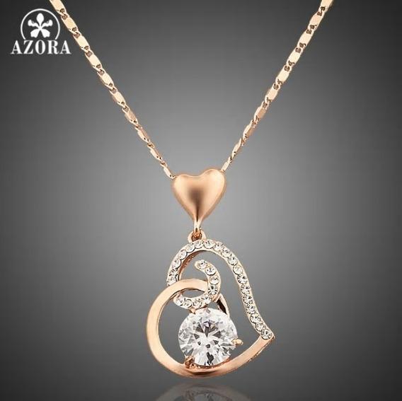 Cordão Feminino Chapeado Rose Gold Coração Com Zirconia Top