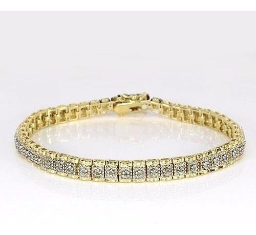 Tw Pulseira Com Diamantes Banho De Ouro Branco E Amarelo