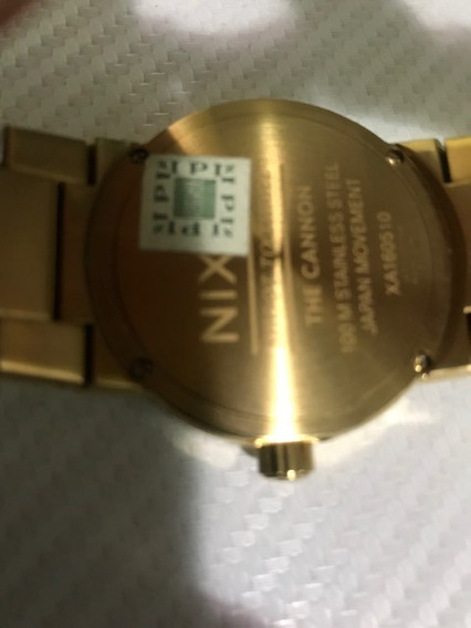 Relógio Nixon Cannon 99007.a160 Dourado-fundo Preto-original