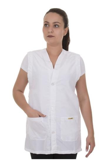 Avental / Jaleco Médico Tecido Oxford Sem Manga Branco