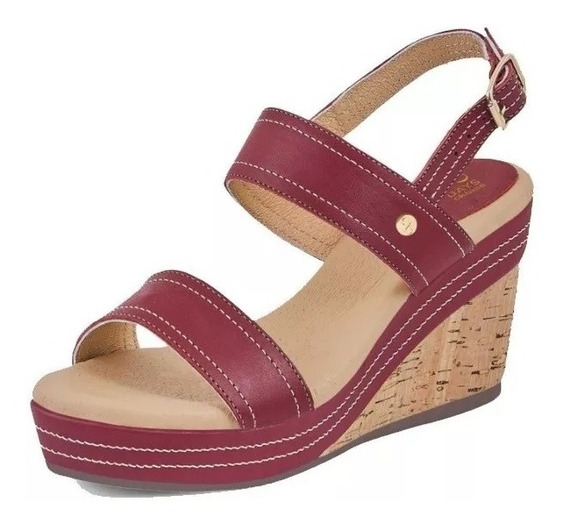 Sandalia Dama Mujer Comoda Playa Piel Color Rojo Tacon 9cm