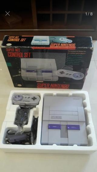 Super Nintendo Na Caixa Original Snes Reliquia