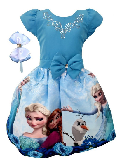 Vestido Frozen + Tiara Brinde