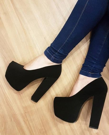 Zapato Gamuzado Varietta Mujer Taco Ancho