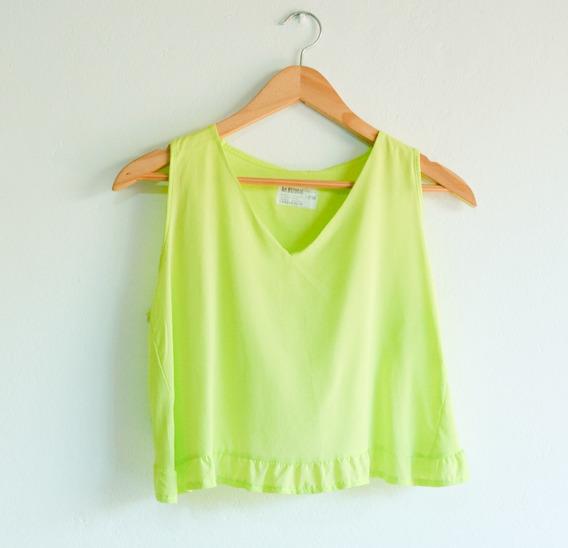 Remera Musculosa Verde Lima Volados Verano Mujer