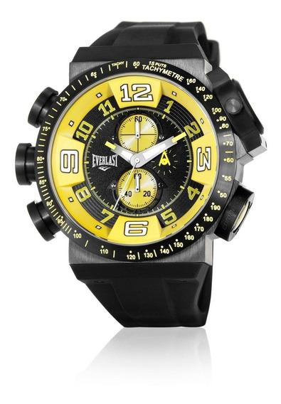 Relógio Pulso Everlast Masculino Cronografo Aço Preto E607