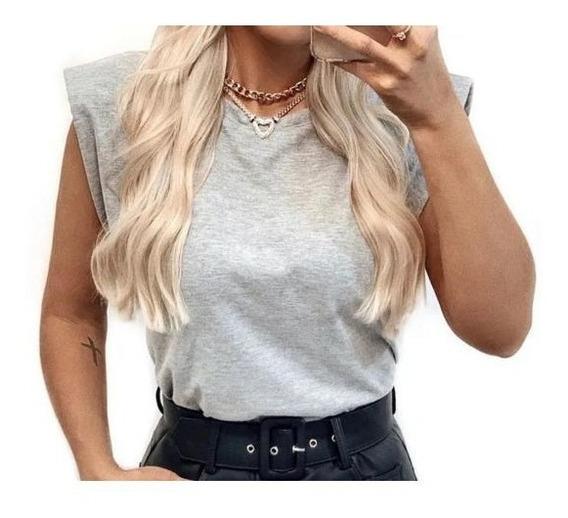 Blusa Feminina Modelo Ombreira Tee Muscle Blogueira P M G