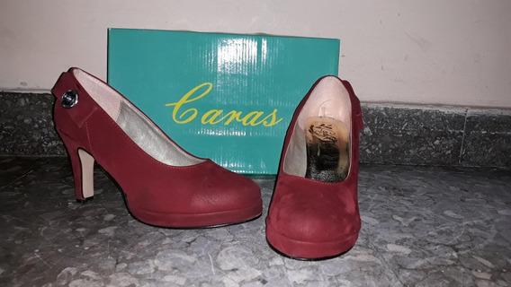 Zapatos De Gamuza Marca Caras Talle 38