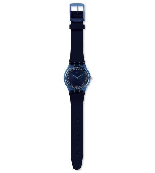 Relógio Swatch Blusparkles Suon134 Silicone Preto Original