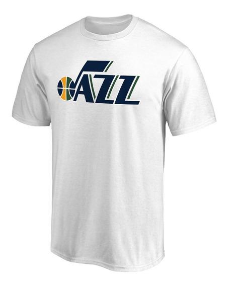 Remera Basket Nba Utah Jazz Logo Simple Blanca