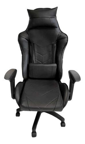 Imagen 1 de 2 de Silla de escritorio MRB DG gamer pro basic gamer  negra con tapizado de cuero sintético