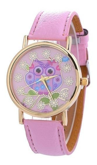Relógio Feminino Pulso Coruja Pulseira Moda Fashion