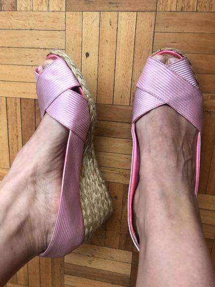Zapatos Ralph Lauren 39 / 40 Taco Chino Divinas Rosa Y Bco