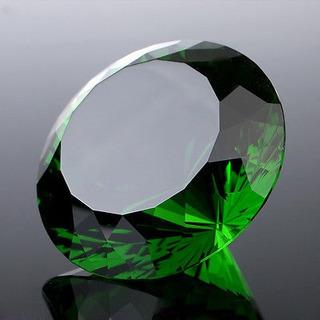 Pisapapeles Enorme Cristal Verde Cortan Vidrio Diamante Giga