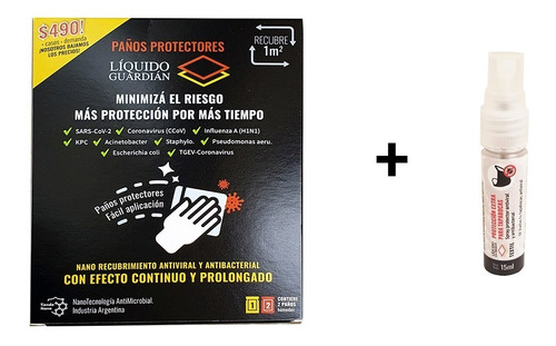 Toallitas Liquido Guardian Y Nanotectnologia Textil 15ml