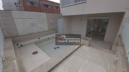 Imagem 1 de 30 de Casa Triplex Com 3 Dormitórios Suítes, Piscina, Recém Construído, 380 M² - Venda Por R$ 1.760.000 Ou Aluguel Por R$ 11.500/mês - Aparecida - Santos/sp - So0142