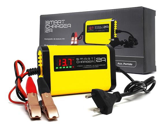 Carregador Bateria Smart Charger 2ah 12v Moto Carro Lancha