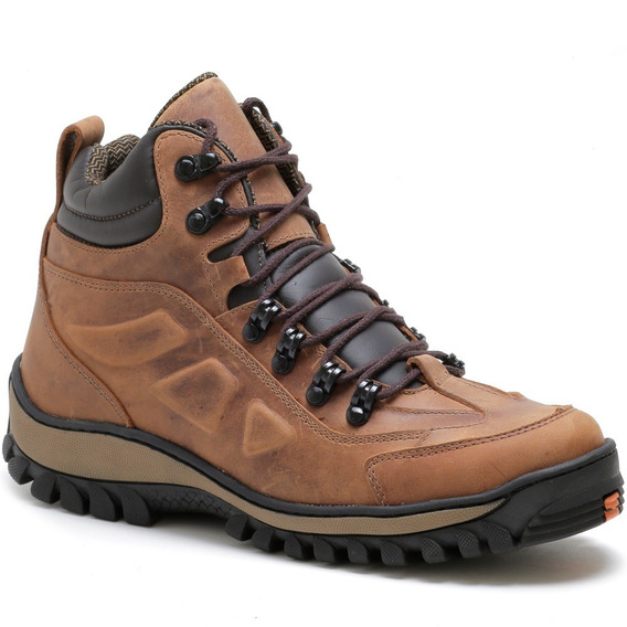 Bota Coturno Adventure Casual Sport Costurada Couro Animal