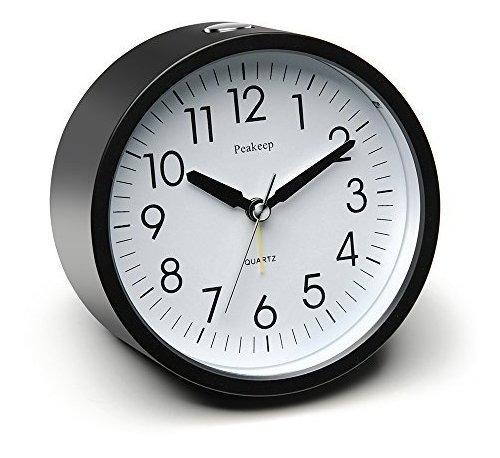 Peakeep Reloj Despertador Silencio Redondo De 4 Pulgadas Con