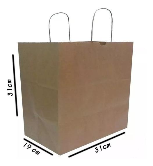Sacola Papel Kraft Delivery 31x19x30 200unid Apenas 119,03