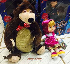 Kit Masha 30 Cm E O Urso 40cm Musical Original 2 Pelucias