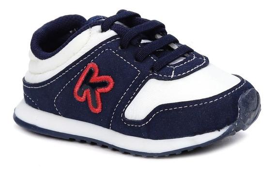 Tênis Klin Infantil Para Bebê Menino - Branco/azul Marinho