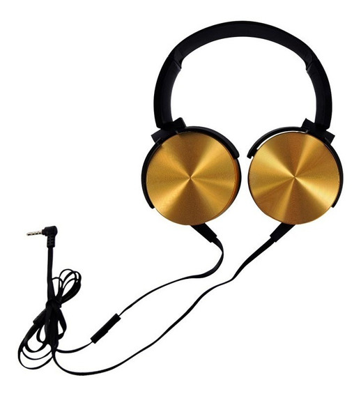 Fone De Ouvido Headphone Extra Bass Com Fio - Dourado