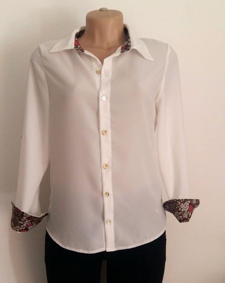 Camisa Feminina C/ Detalhes - Tecido Jeans Ou Crepe