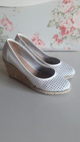 Zapatos De Mujer Via Uno Taco Chino Blanco Talle 40