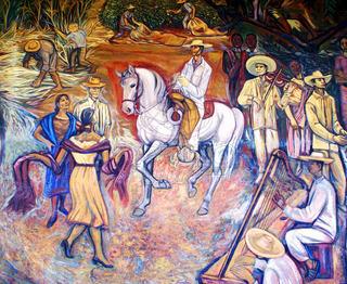 Lienzo Tela Canvas Mural Michoacán Alfredo Zalce 1962 100x82