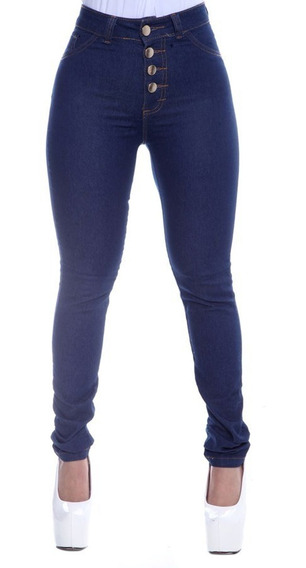 Calça Jeans Feminina Hot Pants Cintura Alta 4 Botões Lycra