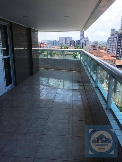 Apartamento Com 3 Dormitórios Para Alugar, 131 M² Por R$ 3.300/mês - Campo Grande - Santos/sp - Ap4185