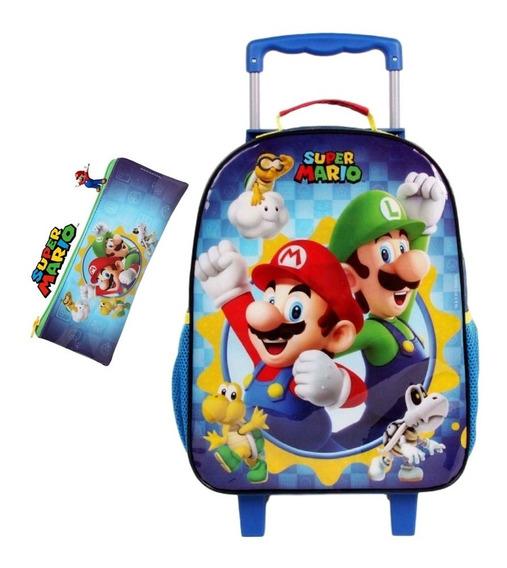 Mochila Escolar De Rodinhas Super Mario Bros Estojo Dermiwil