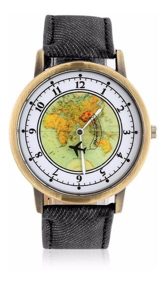 Reloj De Pulso Mapa Del Mundo Avión Viaje Metálico Travel