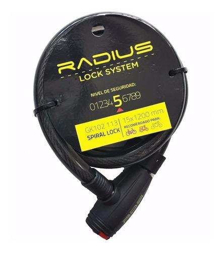 Candado / Linga De Seguridad P/ Bici Radius 15 X 1200mm