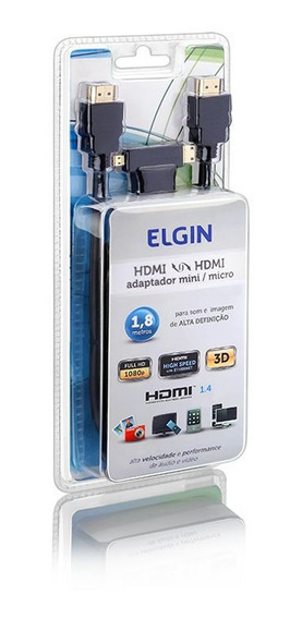Cabo Hdmi Elgin Com Adaptador Mini X Micro 1.8m V1.4