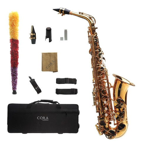 Imagen 1 de 7 de Saxofón Alto Dorado Cora By L. America + Accesorios
