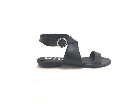 Zapato Mujer Sandalia Chata Natacha Cuero Negro #2554